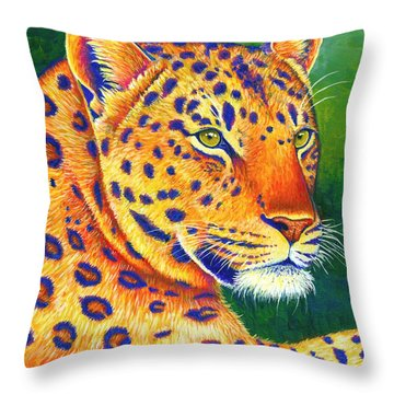 Colorful Leopard Portrait Throw Pillow