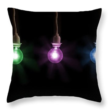 Colorful Light Bulbs Throw Pillow by Sharon Dominick