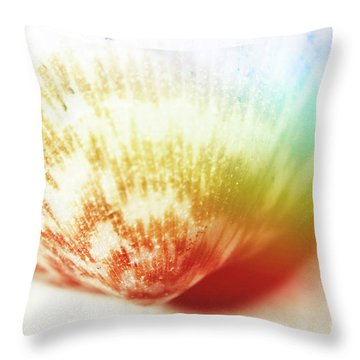 Colorful Light Flare Over Seashell Throw Pillow