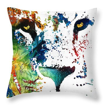 Colorful Lion Art By Sharon Cummings Throw Pillow