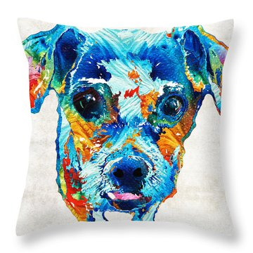 Colorful Little Dog Pop Art By Sharon Cummings Throw Pillow by Sharon Cummings