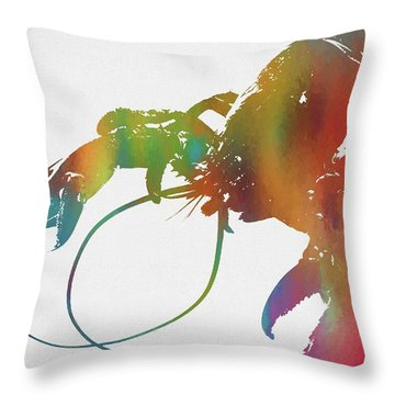 Colorful Lobster Throw Pillow