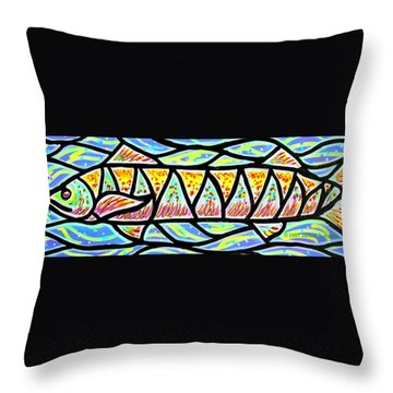 Throw Pillow featuring the painting Colorful Longfish by Jim Harris