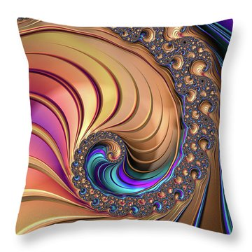 Throw Pillow featuring the digital art Colorful Luxe Fractal Spiral by Matthias Hauser