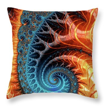 Colorful Luxe Fractal Spiral Turquoise Brown Orange Throw Pillow