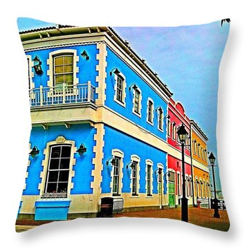 Colorful Macao Houses #nature Throw Pillow