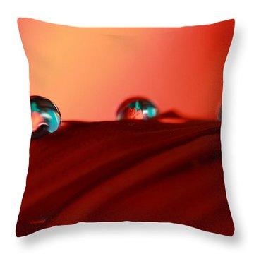 Colorful Macro Water Drops Throw Pillow