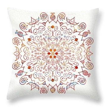 Colorful Mandala On Watercolor Paper Throw Pillow