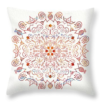 Colorful Mandala On Watercolor Paper Throw Pillow