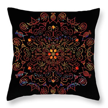 Colorful Mandala With Black Throw Pillow
