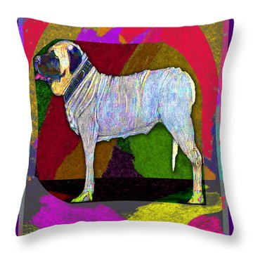 Throw Pillow featuring the drawing Colorful Mastiff by Michelle Audas
