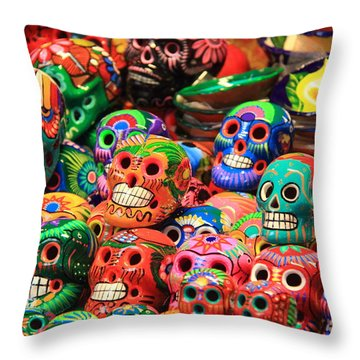 Colorful Mexican Day Of The Dean Ceramic Skulls Throw Pillow