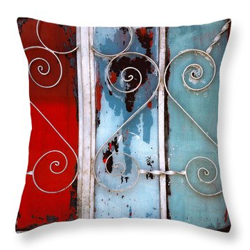 colorful Mexico abstract photography - Red White and Blue Door Throw Pillow