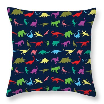Colorful Mini Dinosaur Throw Pillow by Naviblue