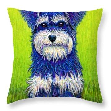Colorful Miniature Schnauzer Dog Throw Pillow