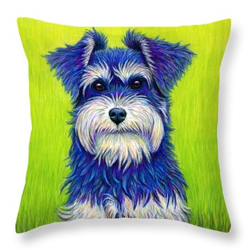 Colorful Miniature Schnauzer Dog Throw Pillow