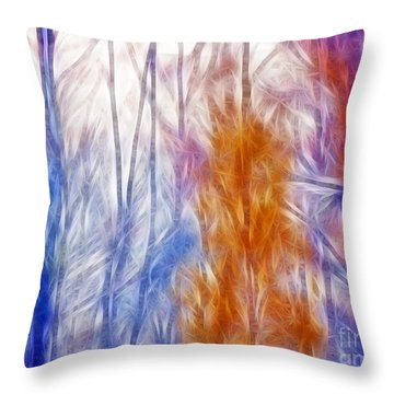 Colorful Misty Forest  Throw Pillow