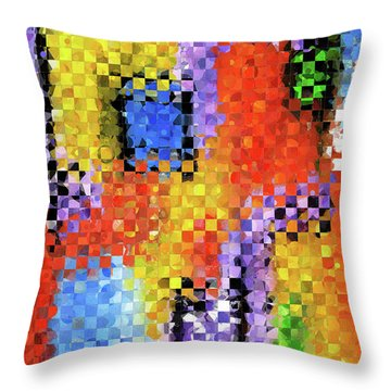 Colorful Modern Art - Pieces 11 - Sharon Cummings Throw Pillow by Sharon Cummings