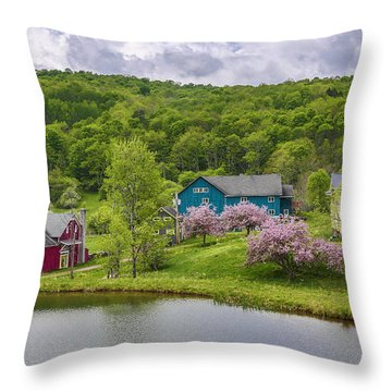 Throw Pillow featuring the photograph Colorful Mountain Homes by Paula Porterfield-Izzo