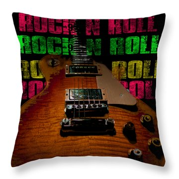 Throw Pillow featuring the photograph Colorful Music Rock N Roll Guitar Retro Distressed  by Guitar Wacky