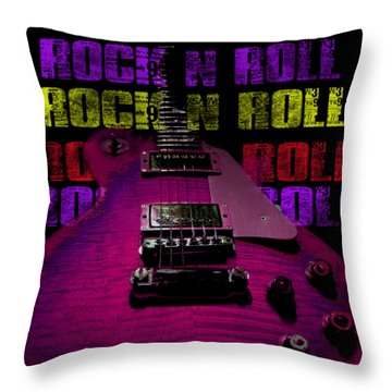 Throw Pillow featuring the photograph Colorful Music Rock N Roll Guitar Retro Distressed T-shirt by Guitar Wacky