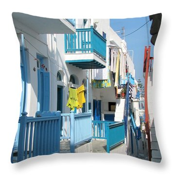 Colorful Mykonos Throw Pillow by Carla Parris