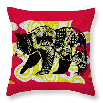 Colorful Native Black Bear Throw Pillow