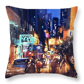 Colorful Night Street Throw Pillow