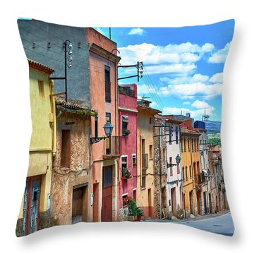 Colorful Old Houses In Tarragona Throw Pillow