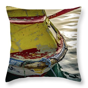 Colorful Old Red And Yellow Boat During Golden Hour In Croatia Throw Pillow