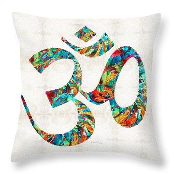 Colorful Om Symbol - Sharon Cummings Throw Pillow