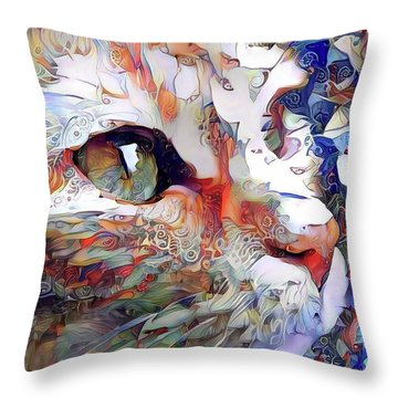 Colorful Orange Cat Art Throw Pillow