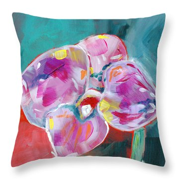 Colorful Orchid- Art By Linda Woods Throw Pillow