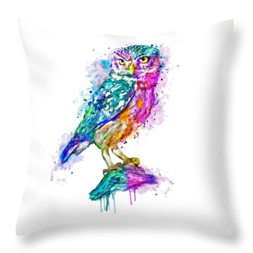 Colorful Owl Throw Pillow by Marian Voicu