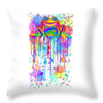 Throw Pillow featuring the painting Colorful Painted Frog  by Nick Gustafson
