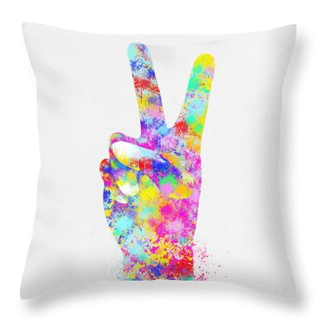 Colorful Painting Of Hand Point Two Finger Throw Pillow by Setsiri Silapasuwanchai