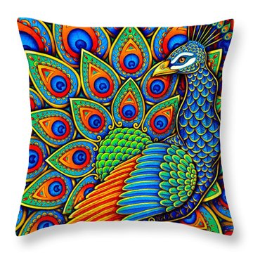Colorful Paisley Peacock Throw Pillow
