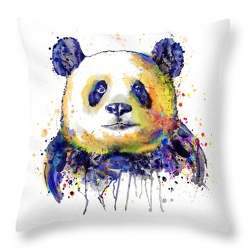 Throw Pillow featuring the mixed media Colorful Panda Head by Marian Voicu