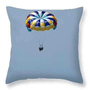 Colorful Parasailing Throw Pillow by Kathy Clark