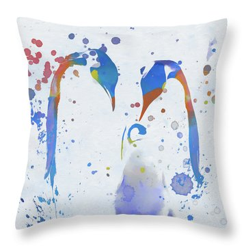 Throw Pillow featuring the painting Colorful Penguin Family by Dan Sproul