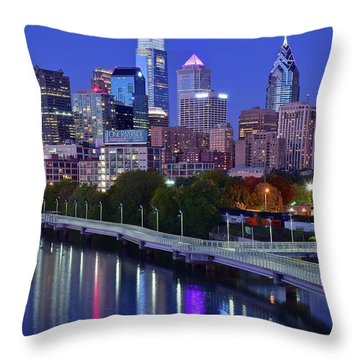 Throw Pillow featuring the photograph Colorful Philly Night Lights by Frozen in Time Fine Art Photography