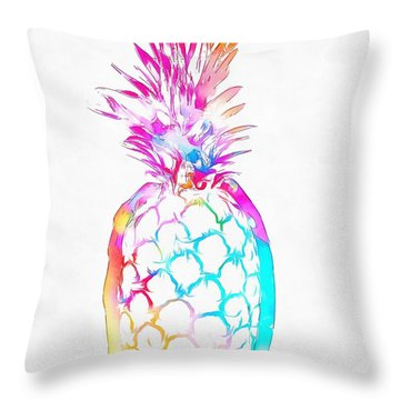 Colorful Pineapple Throw Pillow by Dan Sproul