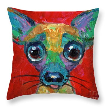 Colorful Pop Art Chihuahua Painting Throw Pillow