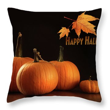 Colorful Pumpkins On Wood Table On Dark  Throw Pillow