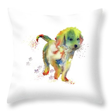 Colorful Puppy Watercolor - Little Friend Throw Pillow by Melly Terpening