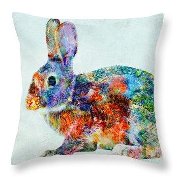 Colorful Rabbit Art Throw Pillow by Olga Hamilton