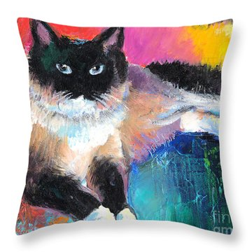 Colorful Ragdoll Cat Painting Throw Pillow by Svetlana Novikova