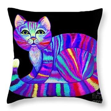 Colorful Rainbow Kitty Throw Pillow