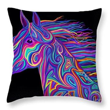 Colorful Rainbow Stallion  Throw Pillow
