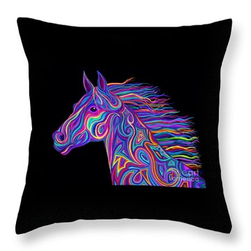 Throw Pillow featuring the drawing Colorful Rainbow Stallion  by Nick Gustafson